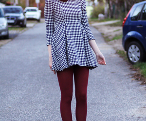 ankle boots, burgundy, and dress image