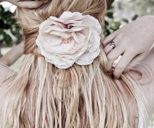 hair, flower, and girl image