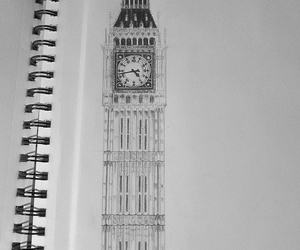 art, Big Ben, and black and white image