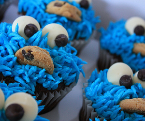 cupcake, cookie monster, and blue image