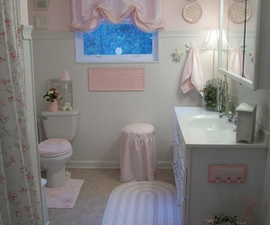 bathroom, pink, and cute image