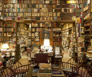 books, shelves, and wood image