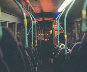 bus, night, and photography image