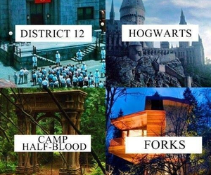 hogwarts, district 12, and harry potter image