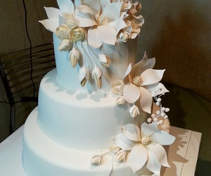 bride, cake, and flowers image