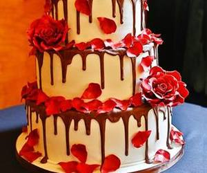 cake, chocolate, and roses image