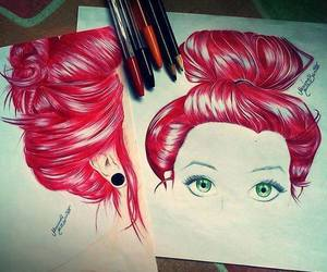 drawing, hair, and red image