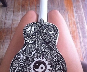 guitar, music, and peace image