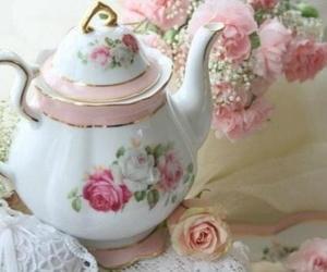 vintage, roses, and tea image