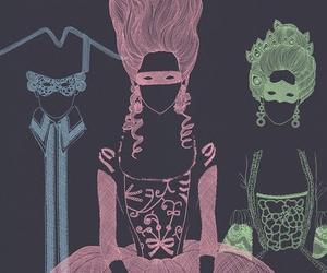 marie antoinette, illustration, and mask image