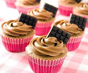 cupcake, chocolate, and pink image