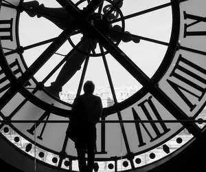 black & white, time, and large clock image