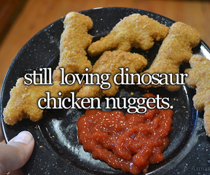 food, dinosaur, and chicken nuggets image