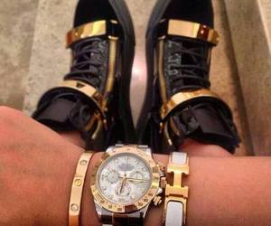 shoes, watch, and hermes image