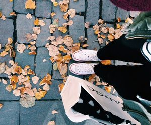 leaves, shopping, and winter fashion image