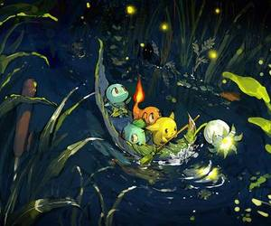 pokemon, pikachu, and bulbasaur image