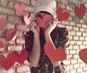 girl, hearts, and heart image
