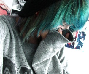 beanie, blue hair, and scene image