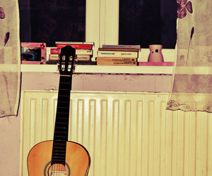 books, grunge, and guitar image