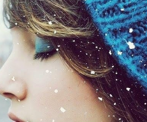 girl, snow, and blue image