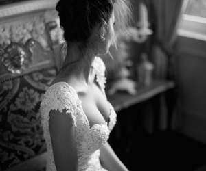 black and white, bride, and wedding dress image