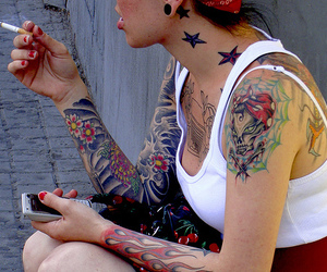 tattoo, girl, and cigarette image