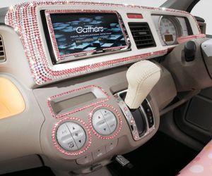car, pink, and diamond image