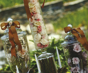 decor, flowers, and glass image
