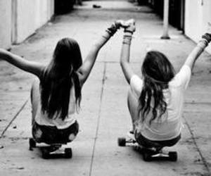 black and white, happy, and longboard image