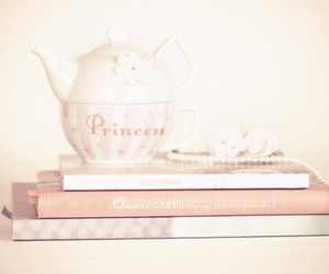 books, tea, and pretty image
