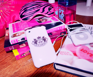 pink, book, and ipod image