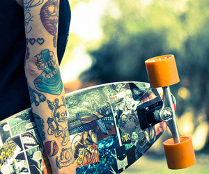 tattoo, skate, and longboard image