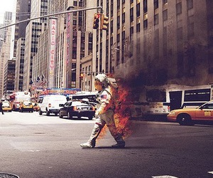 astronaut, fire, and new york image