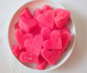 hearts, pink, and watermelon image