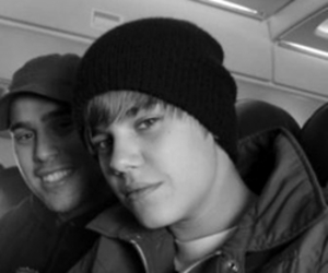 black and white, justin bieber, and scooter braun image