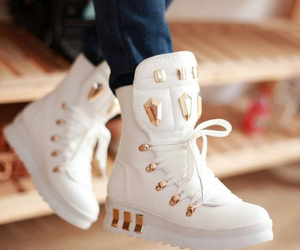shoes, white, and gold image