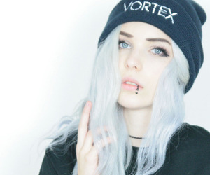 piercing, girl, and lip piercing image