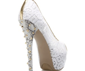 high heels, lace, and white heels image
