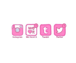 twitter, instagram, and pink image