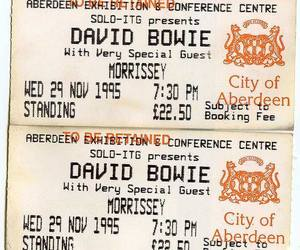 david bowie, morrissey, and concert image