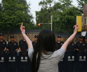 agressive, korea, and fuck the police image