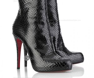 christian louboutin, black ankle boots, and womens shoes image