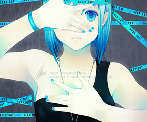 anime, blue, and keep out image