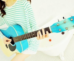 blue, guittar, and girl image