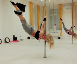 blonde, girl, and pole image