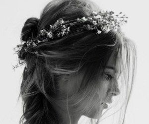 beautiful, black and white, and hairstyle image