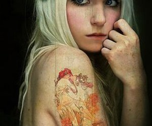 tattoo, blonde, and girl image