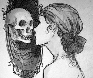 black & white, drawing, and dark image