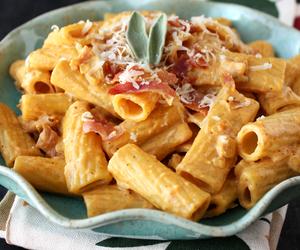 cheese, pasta, and prosciutto image