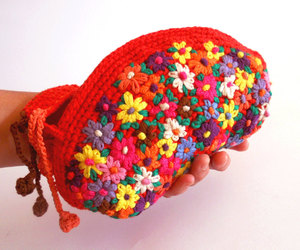 bag, colorful, and crochet image